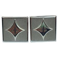 Vintage SWANK Cuff Links for Men  Silver Tone    Nice Square Design!