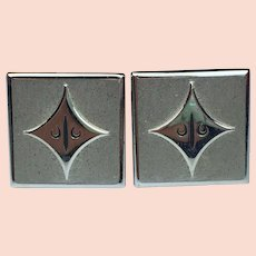 FREE SHIPPING! Vintage SWANK Cuff Links for Men  Silver Tone    Nice Square Design!