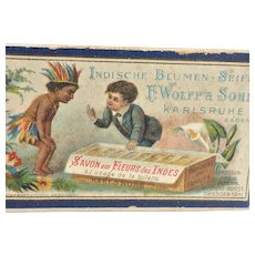 FREE SHIPPING! Antique Vintage Small Soap Box Colorful Advertising Indian and European Boy INDIAN FLOWERS SOAP Germany 1911 F.Wolff & Sohn Karlsruhe  Indische Blumen Seife Savon aux Fleurs des Indes Toilette
