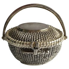 FREE SHIPPING! Vintage Basket PIN CUSHION Silver Metal Box with Embroidery Pillow Pad and Handle Moves! Detailed Large!