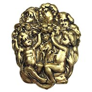 Large Repousse Gold Cherub Putti Fur Clip or for Scarf Jacket Hat Jeans or on Belt BEAUTIFUL!  Vintage Retro Art Deco Metal
