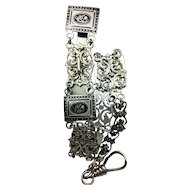 """Vintage Long CHATELAINE Clip Hook Chain Silver Metal Filigree with Black Enamel Flowers Floral STEAMPUNK  13.4"""" Long"""