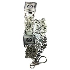 """**CLOSE OUT SALE!** Vintage Long CHATELAINE Clip Hook Chain Silver Metal Filigree with Black Enamel Flowers Floral STEAMPUNK  13.4"""" Long **Lowest Price **STORE CLOSING SOON**"""
