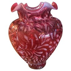 Fenton Glass Cranberry Opalescent Vase