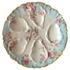 Beautiful Antique Hand Painted Oyster Plate