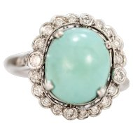 Solid 18K White Gold Turquoise & Diamond Ring size 7!
