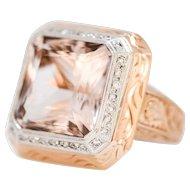 Solid 18K Rose Gold Morganite & Natural Diamond Ring Size 7!