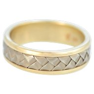 Solid 14K Yellow Gold Weave Pattern Band in Excellent Condition!