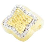 100% Authentic David Yurman 18K Yellow Gold Natural Diamond Ring 7.25