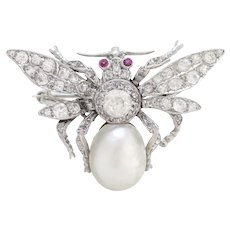 Pure Platinum Bee Brooch with Genuine Ruby, Pearl & Natural Diamond! Excellent Condition!