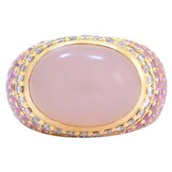 Solid 18K Yellow Gold Genuine Rose Quartz, Diamond & Pink Sapphire Ring in Excellent Condition!