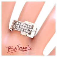 Solid 14K White Gold Natural Diamond Belt Ring! Size 8! Excellent Condition