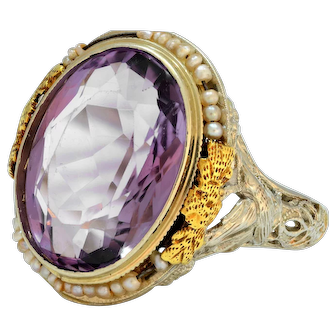 Solid 18K White Gold Antique Amethyst & Seed Pearl Ring Excellent Condition!