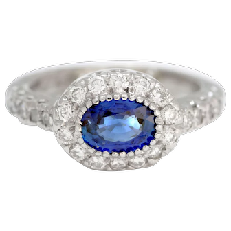 Solid 14K White Gold Genuine Sapphire & Natural Diamond Ring!