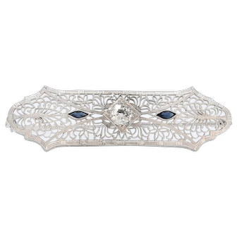 Solid 10K White Gold Antique Filigree Diamond & Sapphire Brooch!