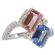 Solid 18K White Gold Genuine Blue & Pink Sapphire & Diamond Ring! 5.2g!