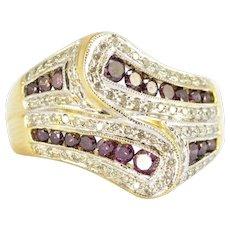 Solid 14K Yellow Gold Genuine Purple & White Diamond Ring! 8.1g