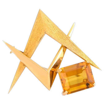 Solid 18K Yellow Gold Citrine Pointed Pin in Excellent Condition! 7.1 grams
