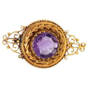Solid 14K Yellow Gold Genuine Amethyst Antique Pin 6.1 grams!