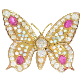 Solid 14K Yellow Gold Antique Natural Diamond, Genuine Opal & Ruby Butterly Pin