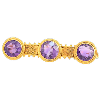 Solid 14K Yellow Gold 3 Stone Amethyst Pin in Excellent Condition!