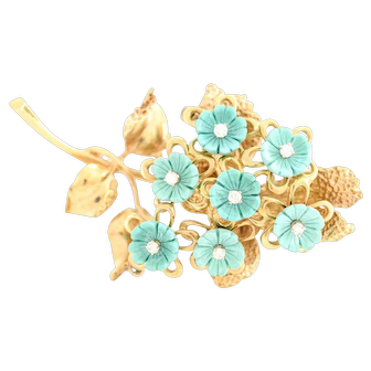 Solid 14K Yellow Gold Natural Diamond and Turquoise Brooch Excellent Condition!