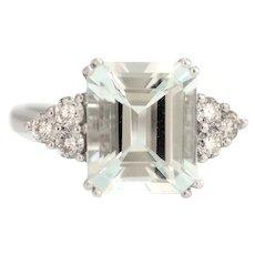 Solid 14K White Gold Genuine Aquamarine & Natural Diamond Ring! 5.8 grams