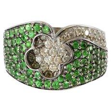 Beautiful Solid 14K White Gold Genuine Tsavorite Garnet & Natural Diamond Ring!