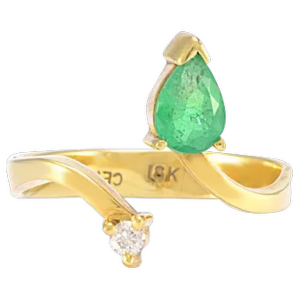 Solid 18K Yellow Gold Pear Emerald & Genuine Diamond Negative Space Ring