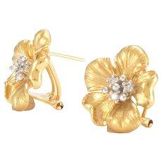 Solid 14K Yellow Gold & Genuine Diamond Flower Earrings 7.8g