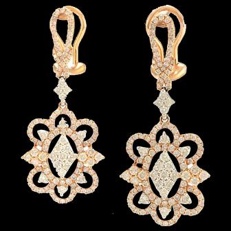 Solid 18K Rose Gold Diamond Dangle Earrings 2.00CTTW 8.5g