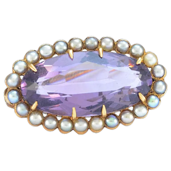 Solid 14K Yellow Gold Genuine Amethyst & Seed Pearl Pin