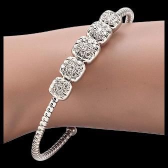 Solid 18K White Gold Genuine Diamond Cuff Bracelet 12.5g