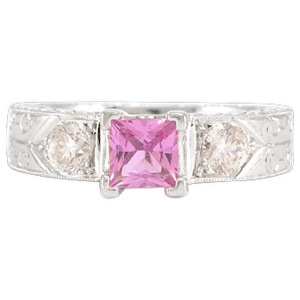 Solid 18K White Gold Genuine Pink Sapphire & Natural Diamond Ring 8.9g