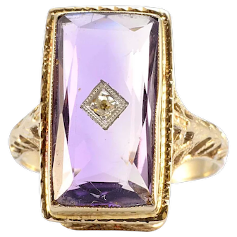 Solid 14K White Gold Antique Amethyst & Diamond Ring 2.6g