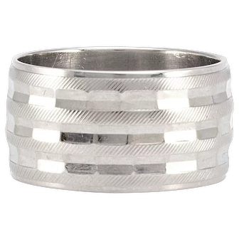 Solid 18K White Gold 12mm Men's Band Size 10.5 11.4g