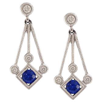 Solid 18K White Gold Sapphire & Diamond Dangle Earrings 3.3g Excellent condition