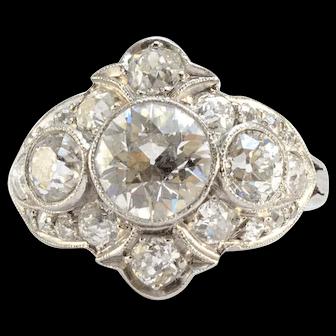 Pure Platinum Antique Old European Cut Diamond Ring 2.25CTTW 5.9g