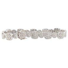Solid 14K White Gold 7.00CTTW Genuine Diamond Bracelet 19.0g