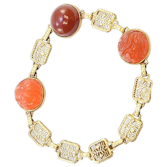 Solid 14K Yellow Gold Cabochon & Carved Genuine Carnelian Bracelet 11.0g