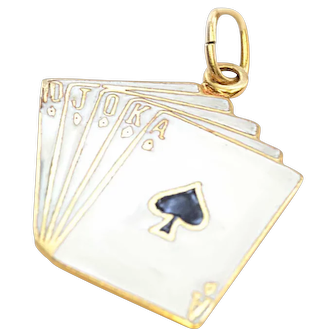 Solid 14K Yellow Gold & Enamel Playing Cards Pendant 2.5g