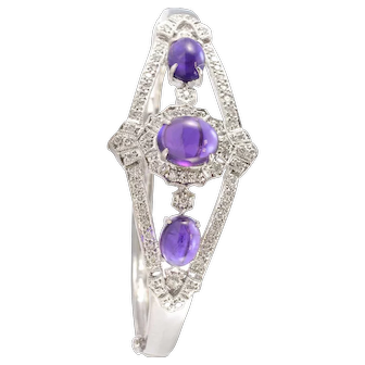 Pure Platinum Genuine Cabochon Amethyst & Natural Diamond Bracelet 37.9g