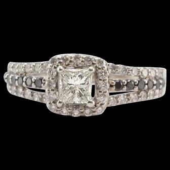 Solid 14K White Gold Princess Cut Genuine Diamond & Black Diamond Ring 4.3g