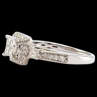 Solid 10K White Gold Genuine Diamond Cluster Ring 4.0g
