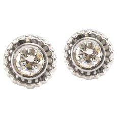 Solid 14K White Gold Genuine Diamond Earrings 1.60CTTW 5.6g