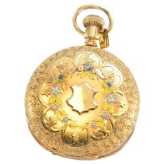 Solid 14K Rosy Yellow Gold Pocket Watch Case W/ Engraving & Natural Diamond