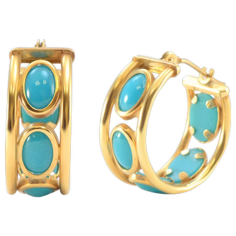 Solid 14K Yellow Gold Genuine Turquoise Huggie Earrings 2.2g