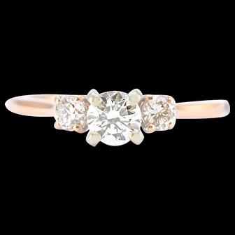 Solid 14K Rose Gold Three Stone Diamond Ring 2.4g