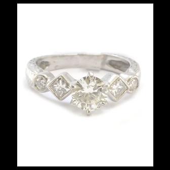 Pure Platinum Natural Diamond Engagement Ring 4.8g