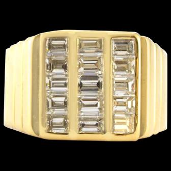 Solid 18K Yellow Gold & Genuine Diamond Men's Cluster Ring 12.7g